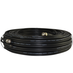 50ft Pre-terminated RG59 siamese coaxial cable for surveillance projects. Pofessional grade coax transmits Video + Power.