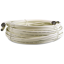 100ft Pre-terminated RG59 siamese coaxial cable for surveillance projects. Professional grade coax transmits Video + Power.