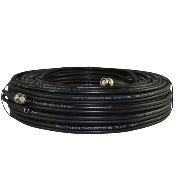150ft Pre-terminated RG59 siamese coaxial cable for surveillance projects. Professional grade coax transmits Video + Power.