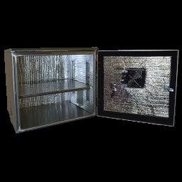 AL202222 NEMA3 weatherproof enclosure with shelf, insulation included. Add on - AL-FTA - fan / thermostat assembly.