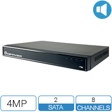 8 Channel 4MP 5-Way DVR with audio over coax
