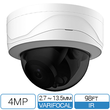 4MP IK10 Vandalproof Network Armor Dome with motorized zoom