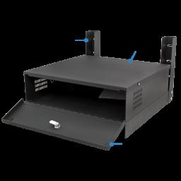 Small Lockbox for DVRs and NVRs with horizontal wall mount brackets.
