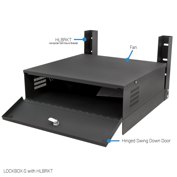 Small Lockbox for DVRs and NVRs with horizontal wall mount brackets.