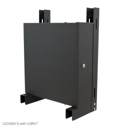 Small Lockbox for DVRs and NVRs with vertical wall mount brackets.