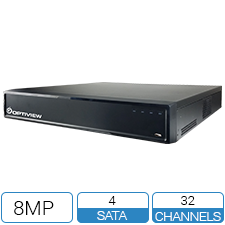 32 channel embedded network video recorder with 16 built in PoE ports. Holds 4 x hard drives.