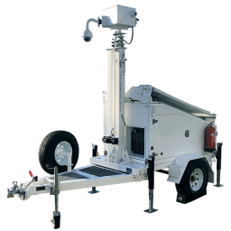 Side view of AL3500 solar trailer with back-up generator and surveillance package