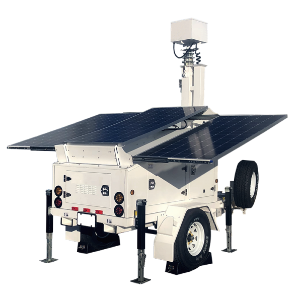 Solar powered mobile trailer with back-up generator for surveillance or lighting use.