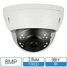 8 Megapixel Network Armor Dome Camera with fixed 2.8mm lens