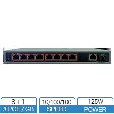 8 Port PoE Switch with 1 x GB Uplink