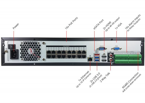 Back of 16 channel IP NVR with 16 built in PoE Ports