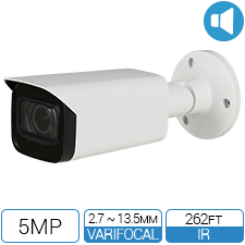 5 Megapixel HD-over-Coax Motorized Bullet Camera with built in Audio