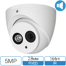 5 MP Outdoor HD camera with long range IR and built-in mic