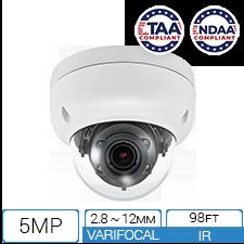 5MP TAA NDAA compliant IP armor dome camera