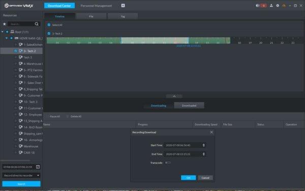 Download Center menu of Optiview VMX