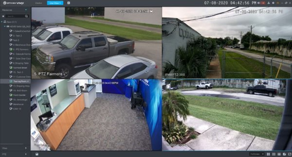 Live View Screen of Optiview VMX