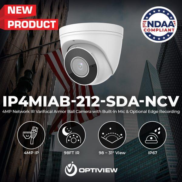 IP4MIAB-212-SDA-NCV - 4MP Network IR Varifocal Armor Ball Camera with Built in Audio