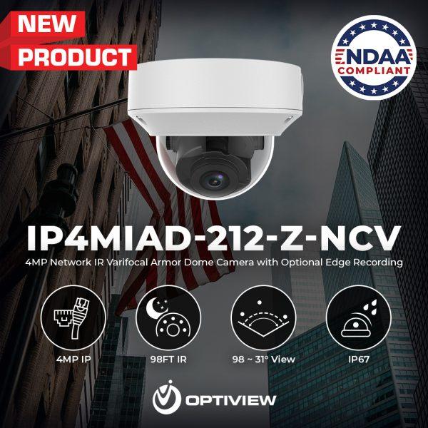 IP4MIAD-212-Z-NCV - 4MP Network IR Fixed Armor Dome Camera