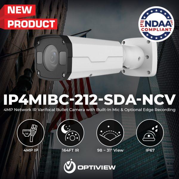IP4MIBC-212-SDA-NCV - 4MP Network IR Varifocal Bullet Camera with Built-In Audio