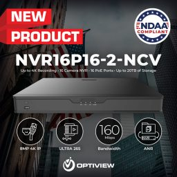 NVR16P164K-2-NCV - 16 Channel / 16 PoE 4K NDAA Compliant NVR