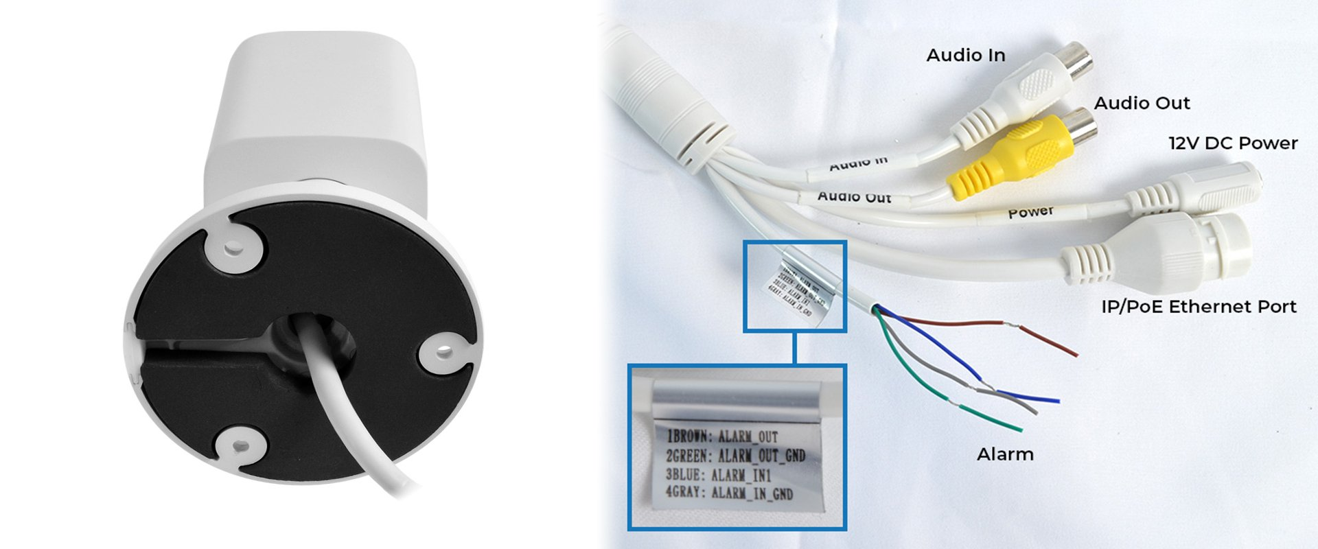 Pigtail for Alarm In/Out and Audio In/Out varifocal IP bullet camera